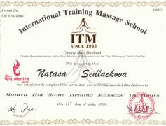 Thajské masáže v Brně - certifikát
