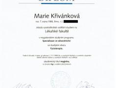 Masérka Brno - Certifikát Fyzioterapie