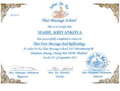 Certifikát maséra - Marie Křivánková